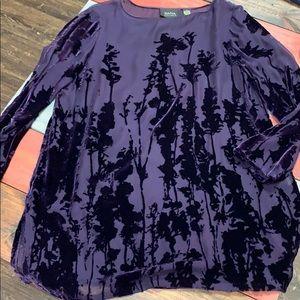 Dana Buchman Purple Sheer Top with Velvet Design